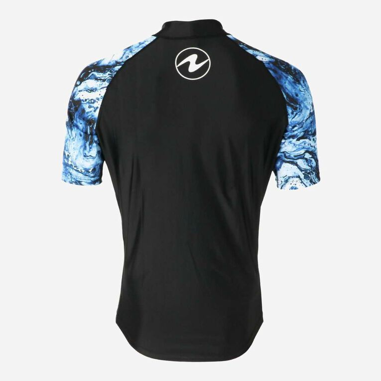 Aqua Rashguard Short Sleeve - Men, Navy blue/White, hi-res image number 3