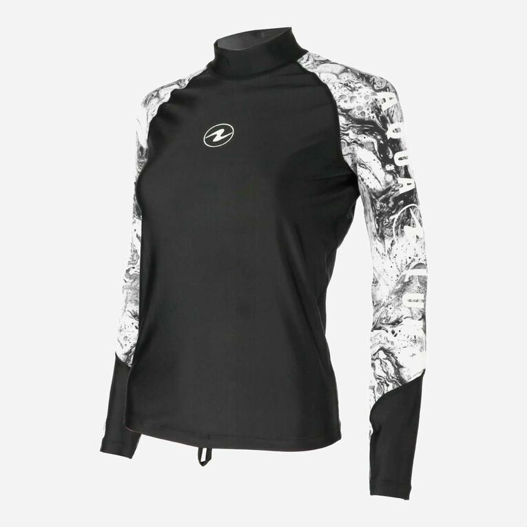 Aqua Rashguard Long Sleeve - Women, Black/White, hi-res image number 2