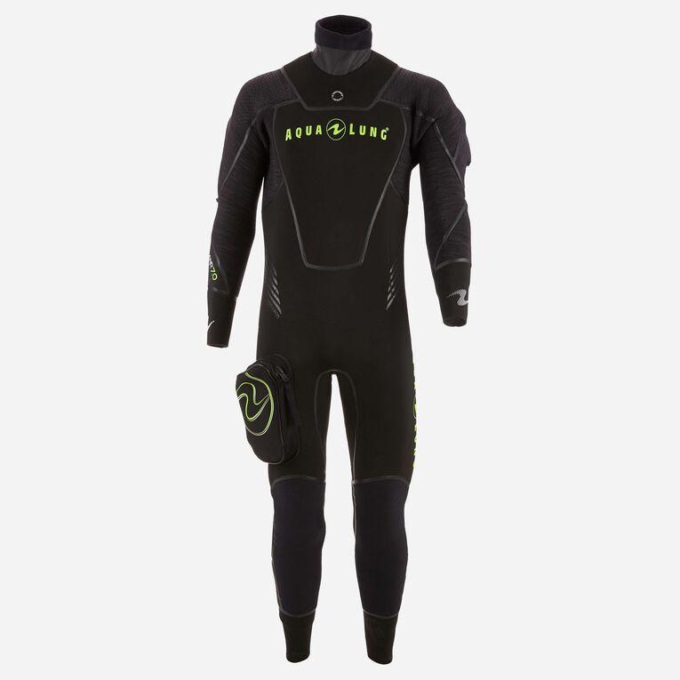 Iceland 7mm Semi-Dry Wetsuit Men, Black/Hot lime, hi-res image number 0