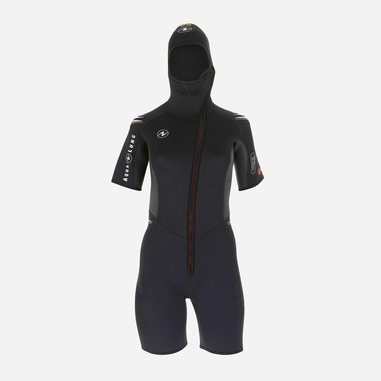 Dive 5,5mm jacket - Women, Black/Orange, hi-res image number 0