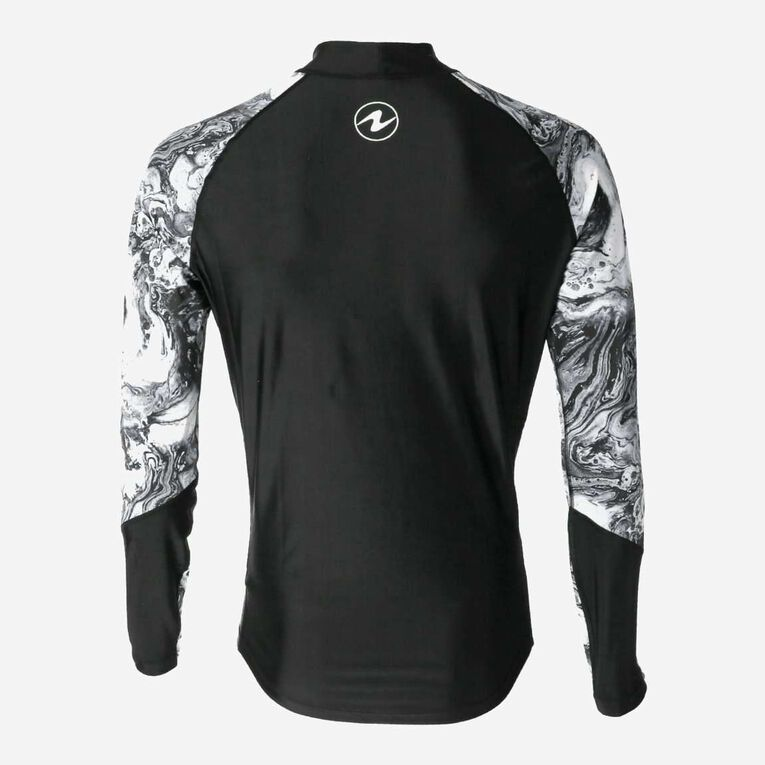 Aqua Rashguard Long Sleeve - Men, Black/White, hi-res image number 3