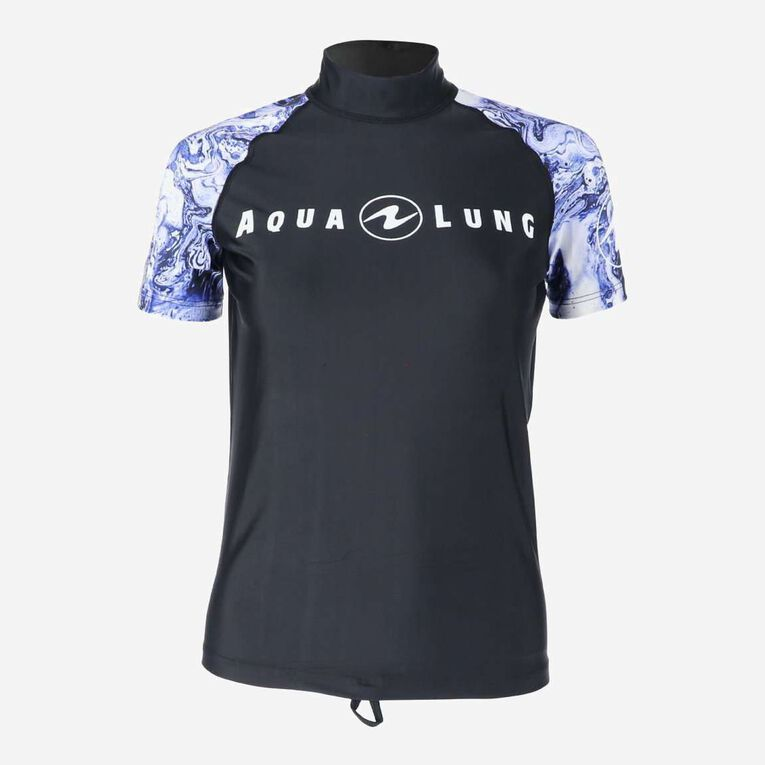 Aqua Rashguard Short Sleeve - Women, Purple/White, hi-res image number 0