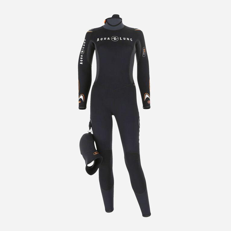 Dive 7mm Wetsuit Women, Schwarz/Orange, hi-res image number 0